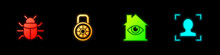 Set System Bug, Safe Combination Lock, House With Eye Scan And Face Recognition Icon. Vector.