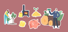Set Of Stickers Bio Coal Theme. Woman Watering Tree, Businessman With Money, Burning Stove, Biggy Bank And Pellets