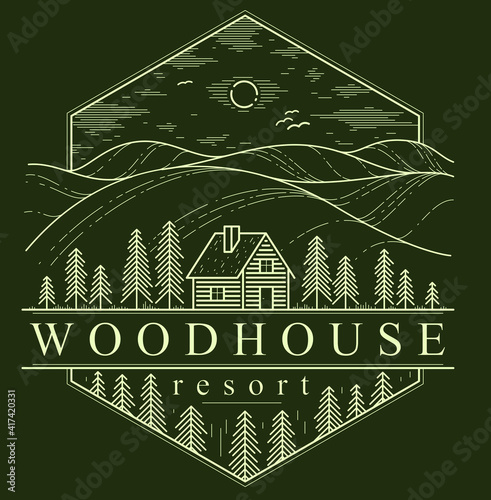 Canvas Print Cabin in grasslands and meadows with pine trees linear vector nature emblem on dark, log cabin cottage for rest, holidays and vacations theme line art drawing, woodhouse resort logo