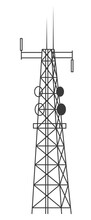 Transmission Cellular Tower. Mobile And Radio Communications Tower With Antennas For Wireless Connections. Outline Vector Illustration Isolated On White Background.
