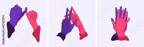 Obraz Hands in a gesture of truce. Vector illustration. Peace and friendship. Set of vector hands. - fototapety do salonu