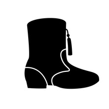 Drill Team Boots Glyph Icon. Clipart Image Isolated On White Background
