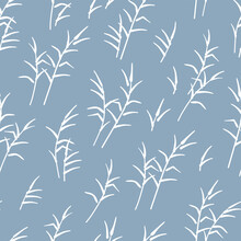 Elegant Hand Drawn Seamless Pattern, Reed Background, Branches, Great For Banners, Textiles, Wallpapers, Wrapping - Vector Design
