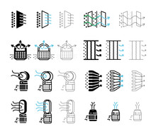Air Purifier Machine Icon Sets. Home Device For Air Purification  Filtering. Air Editable Line Shapes. Simple Line Air Purifier Icon For Templates, Web Design, Logo And Infographics