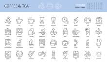 Vector Line Icons Of Tea Coffee Shop. Cup Break Beans Glass Machine Vending Milk Donut Cake Croissant Jug Kettle Grinder Sugar Bag Cafeteria Leaf Juice Morning Herbal Teapot Lemon Milkshake