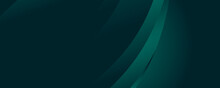 Modern Simple Dark Green Abstract Background For Wide Banner With Wave Overlap Layer. Simple Business Dark Green Abstract Banner Background. Dark Green Color Abstract Geometric Background