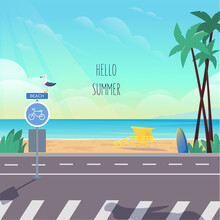 Summer Seascape, Ocean View. Promenade With Palm Trees, Waterside Road, Pedestrian Crossing, Bike Sign And Seagull. In The Background There Is A Beach And A Lifeguard Booth. Vector Stock Illustration