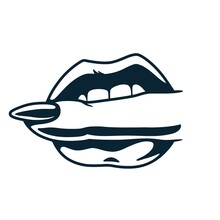 Lips Bite. Sex Gesture Of Sexy Lips With Finger For Nail Bar. Element For Beauty Studio. Fashion, Trendy Style Of Fingernails Logo
