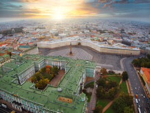 Russia, Saint-Petersburg, Aerial View Of Palace Square And Alexander Column, The Winter Palace, The Hermitage, Little People Walks, With A Shallow Depth Of Field