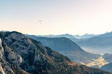 Paragliding Flying Over Mountain Peaks, Altaussee, Liezen, Styria, Austria