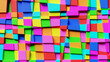 Abstract, geometric background made of irregular colorful squares. 3d rendering