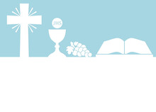 Holy Communion Card With Copy Space- Vector Illustration