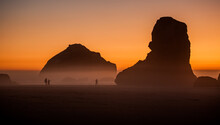 Face Rock On The Beach At Bandon, Oregon At Sunset On The Southern Oregon Coast.