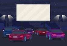 Cartoon Color Drive In Cinema On A Landscape Scene Concept. Vector
