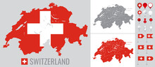 Switzerland Vector Map With Flag, Globe And Icons On White Background