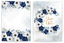 Collection Of  Floral Borders. Template For Invitation Or Greeting Card With Wedding Flowers And Light Marble. Dark Blue And White Anemones