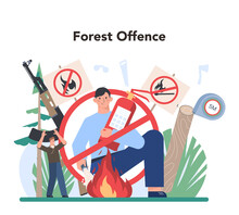 Forester Concept. Wood Protection And Rehabilitation. Forest Ranger