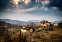 An Abandoned Country House In A Bleak Landscape Of The Italian Countryside