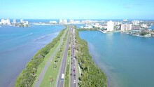 Aerial View On Beach Road. Ocean Or Shore Gulf Of Mexico. Spring Break Or Summer Vacations In Florida. Hotels, Restaurants And Resorts. Turquoise Color Water. Clearwater Beach FL. Tropical Nature.
