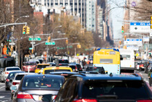 Cars, Taxis And Buses Are Crowded Along 1st Avenue During Rush Hour Traffic In Manhattan New York City