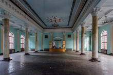 Old Abandoned Hall With Columns In Abkhazia, Georgia