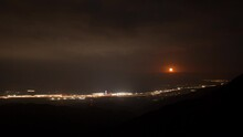 Time Lapse Of The Moonrise Above Interstate 10 And The Morongo Casino At Night