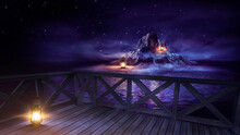 Night Seascape, Fantasy Island With Lanterns And A Wooden Pier By The Sea. Evening Shore, Beach Party. Neon Blue Sunset, Reflection Of Neon In The Water. 3D Illustration.