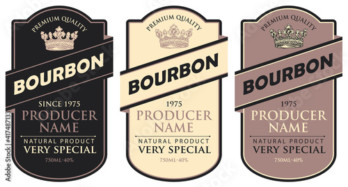 Foto Set of vector labels for bourbon in the figured frame with crowns and inscriptions in retro style