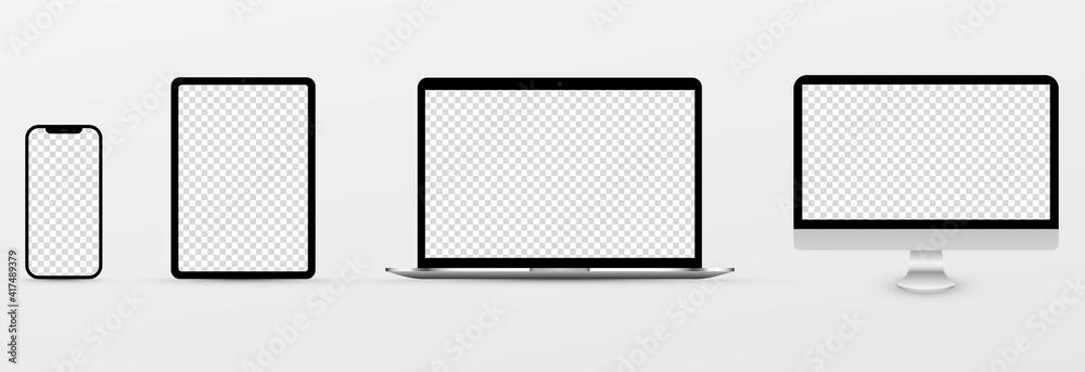 Fototapeta Screen vector mockup. Mockup of phone, laptop, smartphone, monitor with blank screen. PNG.