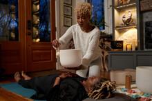 Woman Does Overhead Sound Bath, Peaceful Vibrations