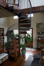 Beautiful Interior Home, Warm And Cozy Earth Tones, Spiral Staircase
