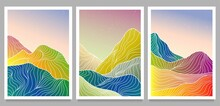 Creative Minimalist Modern Line Art Print. Abstract Mountain Contemporary Aesthetic Backgrounds Landscapes. With Mountain, Sea, Skyline, Wave On Set. Vector Illustrations