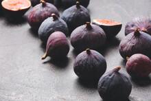 Fresh Ripe Figs On Dark Background