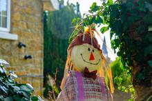 Closeup Shot Of A Cute Scarecrow On A Farm
