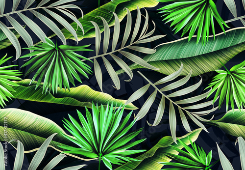 Fototapety, obrazy: Seamles Leaves Pattern In Elegant Style. Tropical palm leaves, jungle leaves seamless floral pattern background