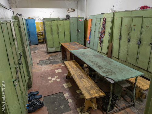 Slika na platnu old dirty locker room in soviet factory