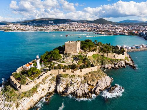 Fototapeta View of Guvercinada or Pigeon Island in the Aegean Sea with the Kusadasi Pirate