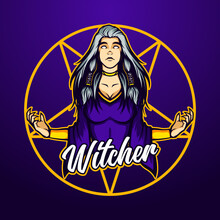 Anger Of The Lady Witch Mascot Vector Template