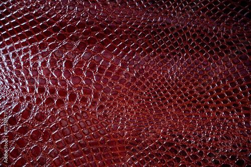 Texture of brown leather  crocodile pattern Fotobehang