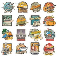 Cuba And Havana Travel, Tourist Attractions And Food Retro Icons Set. Ocean Fishing, Coffee And Havana Cigars, Classical Guitar, Boat Trips And Turtle Island Tours, Zoo, Columbus Museum And Food Badge