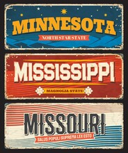 USA Mississippi, Minnesota And Missouri America States Plates And Vector Retro Signs. US American State Rusty Metal Plates With City Motto And Taglines, USA Landmarks Flags And Grunge Signage