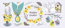 HAPPY EASTER NARCISSUS Set Vector