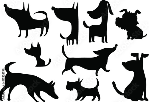 vector dog symbol sign icon black and white set