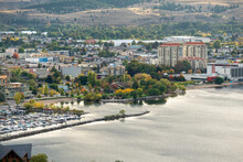 Scenic View Of Okanagan Lake And Blue Sky In Autumn In Penticton, BC, Canada
