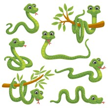 Set Of Cartoon Green Snake, Funny Reptile A Vector Illustrations For Kids Design