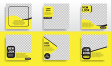 Set Of Editable Minimal Square Banner Templates. Black And Yellow Background Color With Striped Shape. Suitable For Social Media Posts And Web Internet Advertising. Vector Illustration