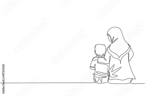 Fotografia Single continuous line drawing of young Arabian mom talking and sitting together with her boy