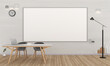 Classroom interior with big whiteboard for mockup minimal style, 3D rendering