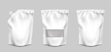 Doypack, Pouch Paper Or Foil Bags With Nozzle And Transparent Surface Front View. Doy Pack, Sachet With Clip Isolated On White Background. Food Product Blank Packages, Realistic 3d Vector Mock Up, Set
