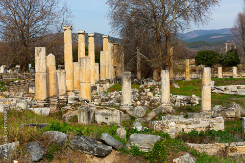 Remains of Ionic colonnades of South Agora amidst park in ancient Hellenistic ci Fototapete